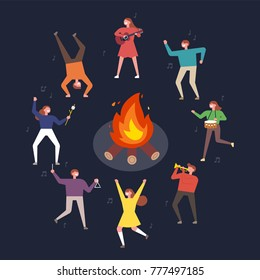 People who enjoy campfires and dance happily vector illustration flat design