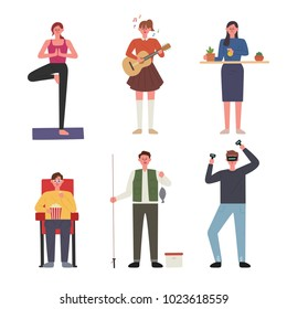 People who enjoy various hobbies. hand drawing style vector illustration flat design
