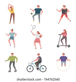 People who exercise for health vector illustration flat design