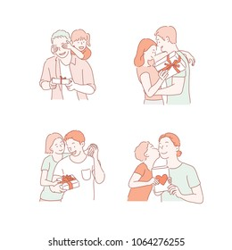 People who give gifts to loved ones. hand drawn style vector doodle design illustrations.