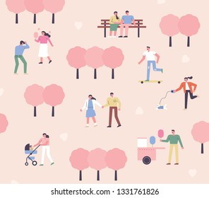 People who go out on a date in spring park. flat design style minimal vector illustration