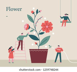 People who grow flower pots together. concept illustration. flat design vector graphic style.