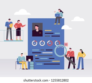 People who look at applicant's resume for recruitment. A huge resume and small characters An exaggerated concept illustration. flat design vector graphic style people set.