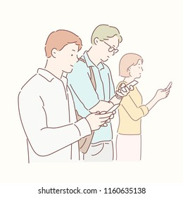 People who are not talking but looking on their cell phones. hand drawn style vector design illustrations.