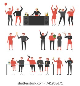 People who party in the club vector illustration flat design