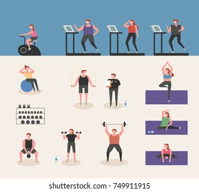 People who play various sports in the gym vector illustration flat design