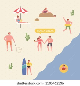 People who are relaxing on the beach. flat design style vector graphic illustration set