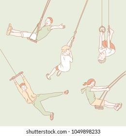 People who ride a hanging fixture. hand drawn style vector doodle design illustrations.