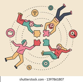 People who set up a puzzle piece in the air. Teamwork concept. flat design style minimal vector illustration