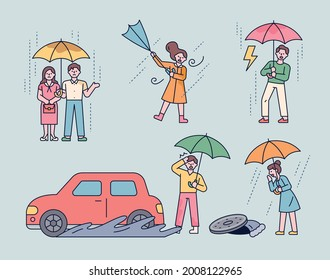 People who show various inconveniences that occur on a rainy day. outline simple vector illustration.