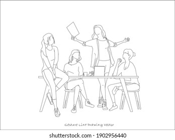 People who sit together and have meetings. gesture line drawing.