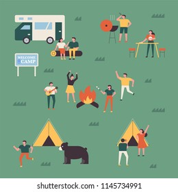 People who spend a good time camping together in the campsite. flat design style vector graphic illustration set