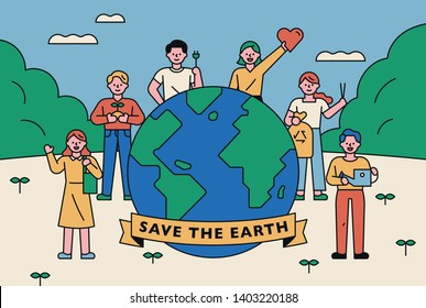 People who stand around the big earth and convey the message of protecting the environment. flat design style minimal vector illustration