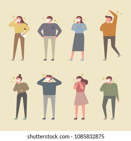 People who wear masks and suffer from fine dust. flat design style vector illustration set