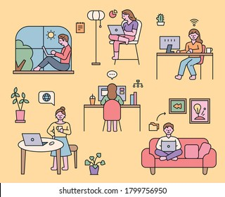 People who work from home in various styles. flat design style minimal vector illustration.