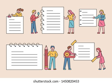 People who write large office supplies and write notes. Various concept notes and cute people decoration. flat design style minimal vector illustration.