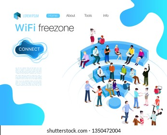 People in wi-fi zone. Public Wi-Fi zone wireless connection technology. Isometric 3d vector illustrations, Web, lending, banner. People surfing internet on the shaped seats of WiFI.