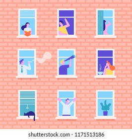 People in window frames. Neighbors people characters. Communication via Internet, chatting. People addiction to networks and spending time in internet. Flat  vector illustration.