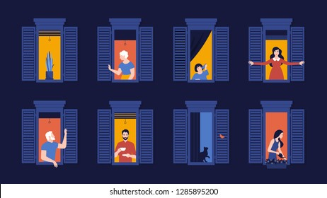 People in window frames. Neighbors evening live in apartments. The facade of the house. Vector flat illustration