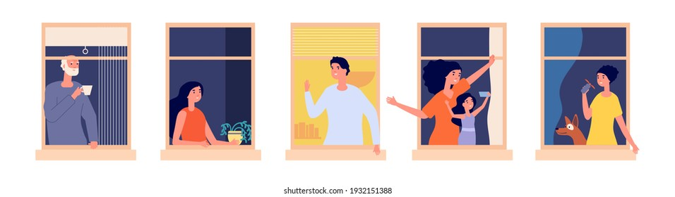 People in windows. Home time, family together. Woman make selfie, man drink morning coffee girl dreaming. Cartoon friendly neighbors vector illustration