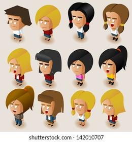 People Women Isometric Set. Vector Illustrator