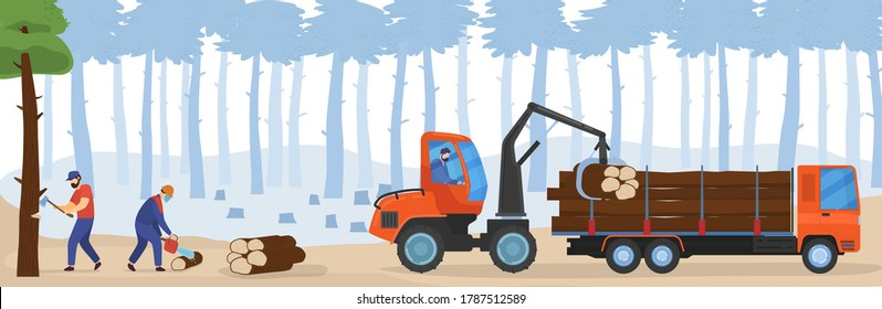 People woodworking vector illustration. Cartoon flat woodworker lumberjack characters working with chainsaw, cutting forest trees for loading in woodcutter truck. Logging forestry industry background