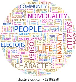 PEOPLE. Word collage on white background. Illustration with different association terms.