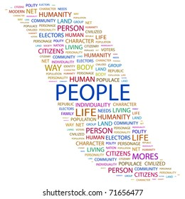 PEOPLE. Word collage on white background. Vector illustration. Illustration with different association terms.