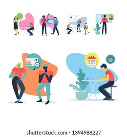 People at work. Collection of office workers in various situations. Business and communication related vector illustrations set in flat modern style.