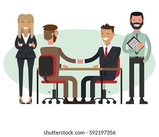 People at work with handshaking and secretaries on white background. Handshake of two businessmen behind a desk. Vector.