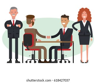People at work with handshaking and secretaries on white background. Handshake of two businessmen behind a desk.