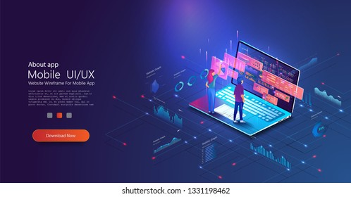 People work and interacting with graphs. Application of laptop with business graph and analytics data on isometric laptop and okr. Website header images on blue background.Vector