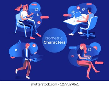 People work and interacting with graphs, icons and devices. Data analysis and office situations. 3D Isometric vector illustration set. Mobile application and website header images on dark background.