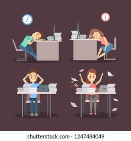 People work late at night set. Tired offcie character sleeping at the workplace. Idea of deadline. Flat vector illustration