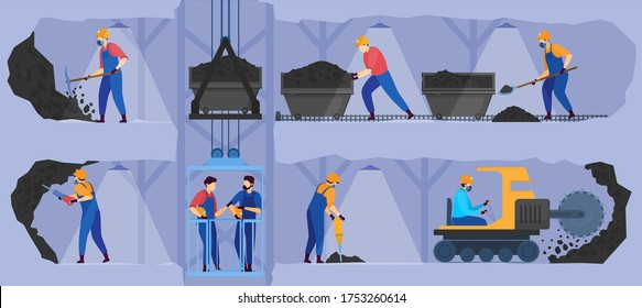 People work in mine industry vector illustration. Cartoon flat man miner character group in uniform working in underground tunnels, industrial process for coal extraction, mining business background