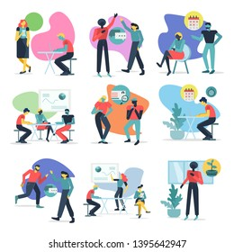 People at work in office. Collection of office workers in various situations. Business and communication related vector illustrations set in flat modern style.