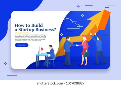People work in a team and achieve the goal. Business planning, risk management design concept. Website banner templates. Startup concept. Launch a new product on a market. Vector illustration