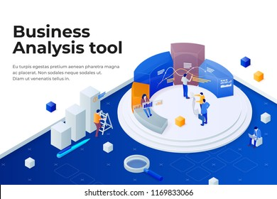 People work in a team and achieve the goal. Pie chart in 3d isometric style. Data analysis, and office situations. Landing page template. Business software 3d concept. Vector illustration.