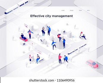 People work in a team and build a smart city. Landing page concept. 3d isometric vector illustration