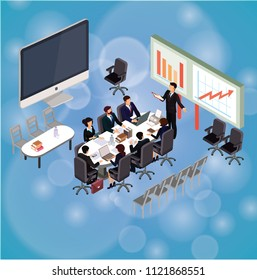 People work in a team and interact with graphs. Business, workflow management and office situations. Landing page template. 3d  illustration design vector  on cyan background