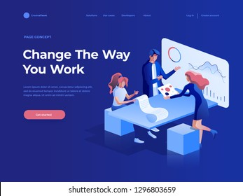People work in a team and interact with graphs. Business, workflow management and office situations. Landing page template. 3d vector isometric illustration.