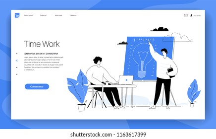 People work in a team and are looking for new ideas. Business management and office situations. Landing page template. flat vector illustration