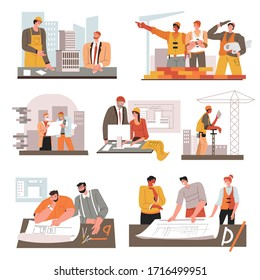 People working in building industry. Collection of engineers and builders with instruments. Set of architects working on schemes and drafts, planning construction in offices. Vector in flat style