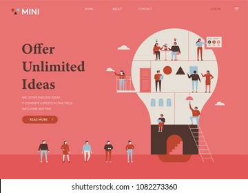 People are working in bulb-shaped buildings divided into sections. flat design style vector illustration set