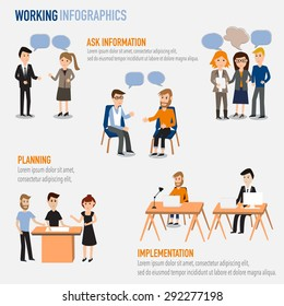 People working in the co-working space infographics elements.illustrator EPS10. Ask information,Planning,Implementation