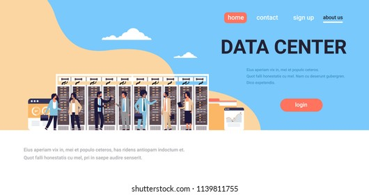 people working data center room hosting server computer monitoring information database graph diagram analysis flat horizontal copy space vector illustration