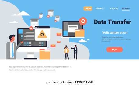 people working data transfer synchronization computer connection database access transformation technology horizontal copy space vector illustration