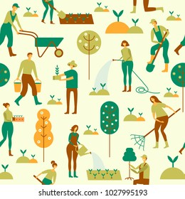 People working in garden design elements and icons in flat style. Seamless pattern