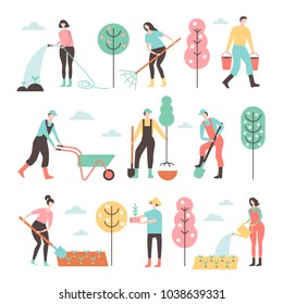 People working in garden design elements and icons in flat style. Vector set of characters, isolated on white background.