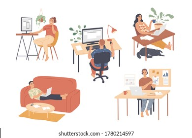 People working from home. on laptops and computers Working at home. Freelance